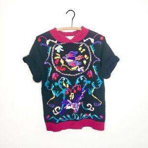 Vintage Retro 90's Knit Kimono Bright Sweater